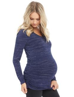 Long Sleeve Maternity Tee- Spacedye, Navy Spacedye