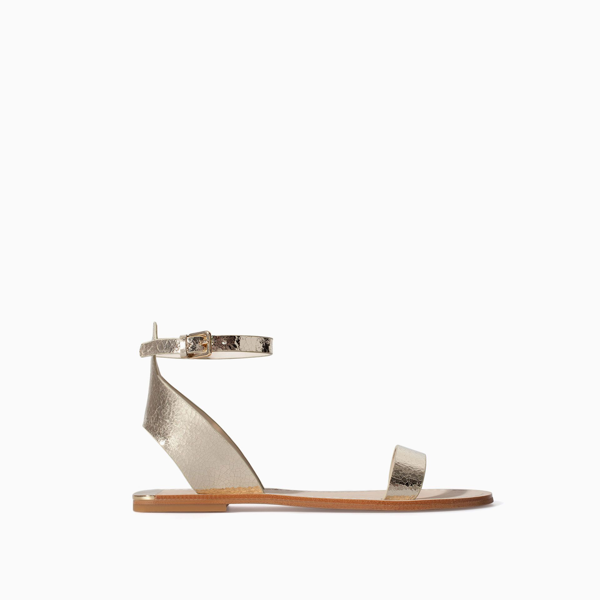 d2912fbab ZARA - WOMAN - METALLIC LEATHER SANDAL WITH ANKLE STRAP