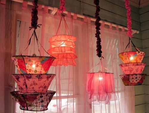 Boho bohemian fabric lights pink girly lamps all of the fun with old lampshade frames audiocablefo