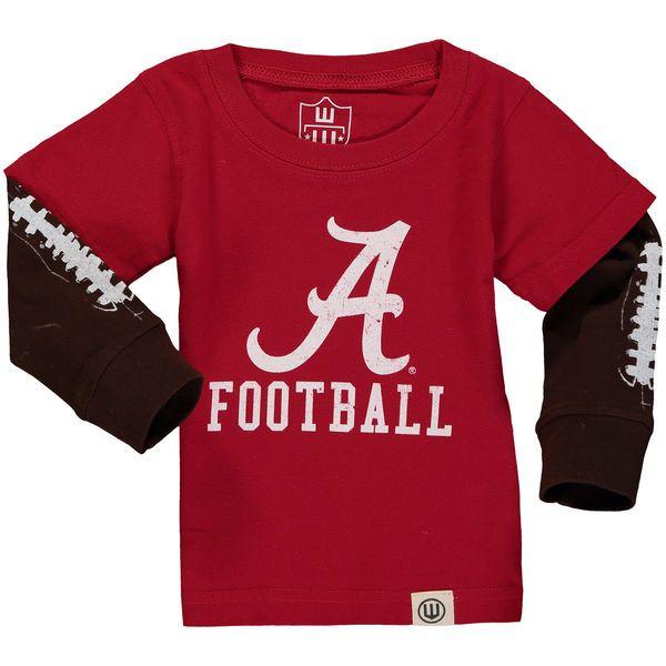 Alabama Crimson Tide Wes   Willy Infant Football Fooler Long Sleeve T-Shirt  - Crimson 9d5ad1832