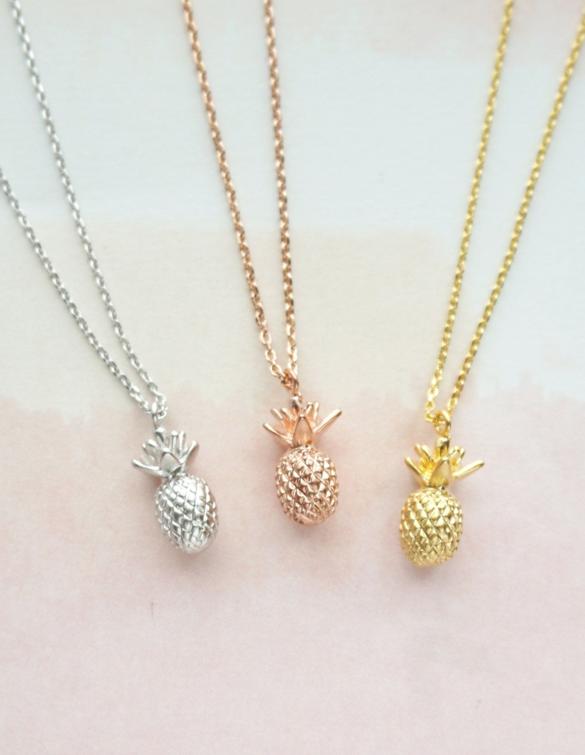 Petite Simple Pineapple Necklace / Pineapple Necklace - Rose Gold SilverPineapple Necklace Pineapple Jewelry Gold Pineapple Necklace Jewelry