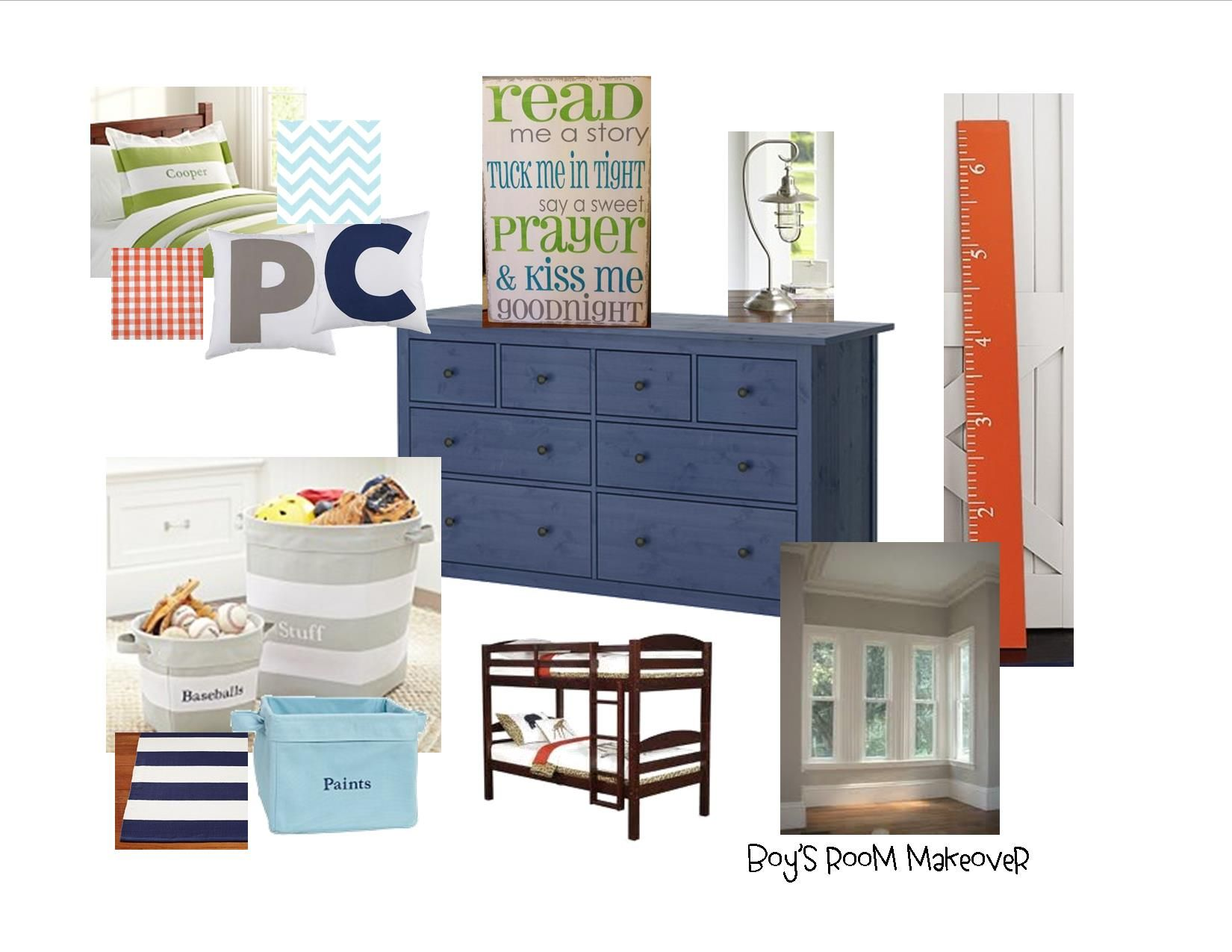 Orange, Grey, Navy, Aqua And Green Boys Room Makeover Ideas