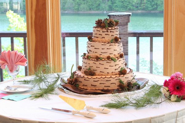 Yessss-- perfect Adirondack wedding cake (from The Lodge on Echo Lake)