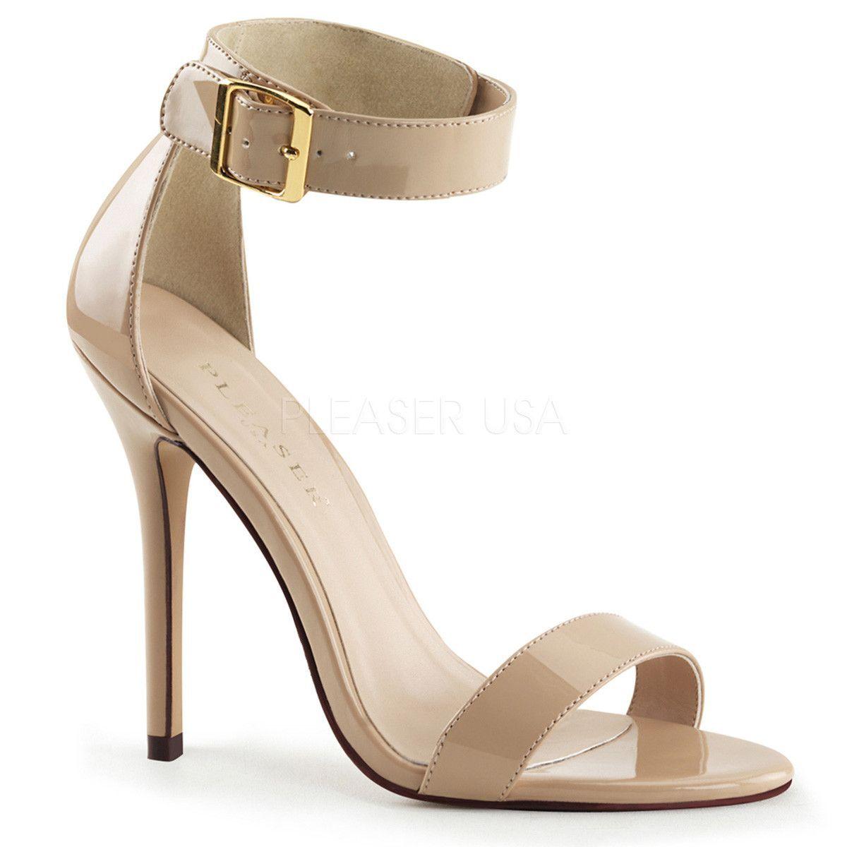 Pleaser AMUSE-10 Cream Patent Ankle Strap Sandals | Ankle strap sandals,  Ankle straps and Strap sandals