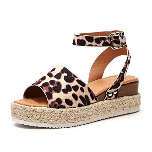 Sandale Femme Ete Plateforme Compensées Espadrilles Cuir jLq354AR