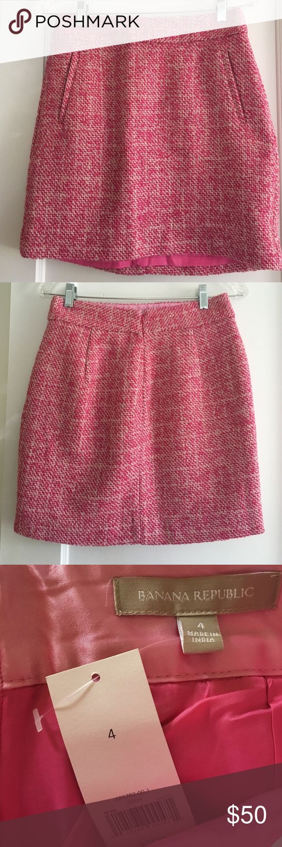 e2469c8f31 BANANA REPUBLIC pink tweed mini skirt -4-NWT! NWT! Banana Republic pink and  white tweed mini skirt. Faux front pockets. Fully lined, concealed center  back ...