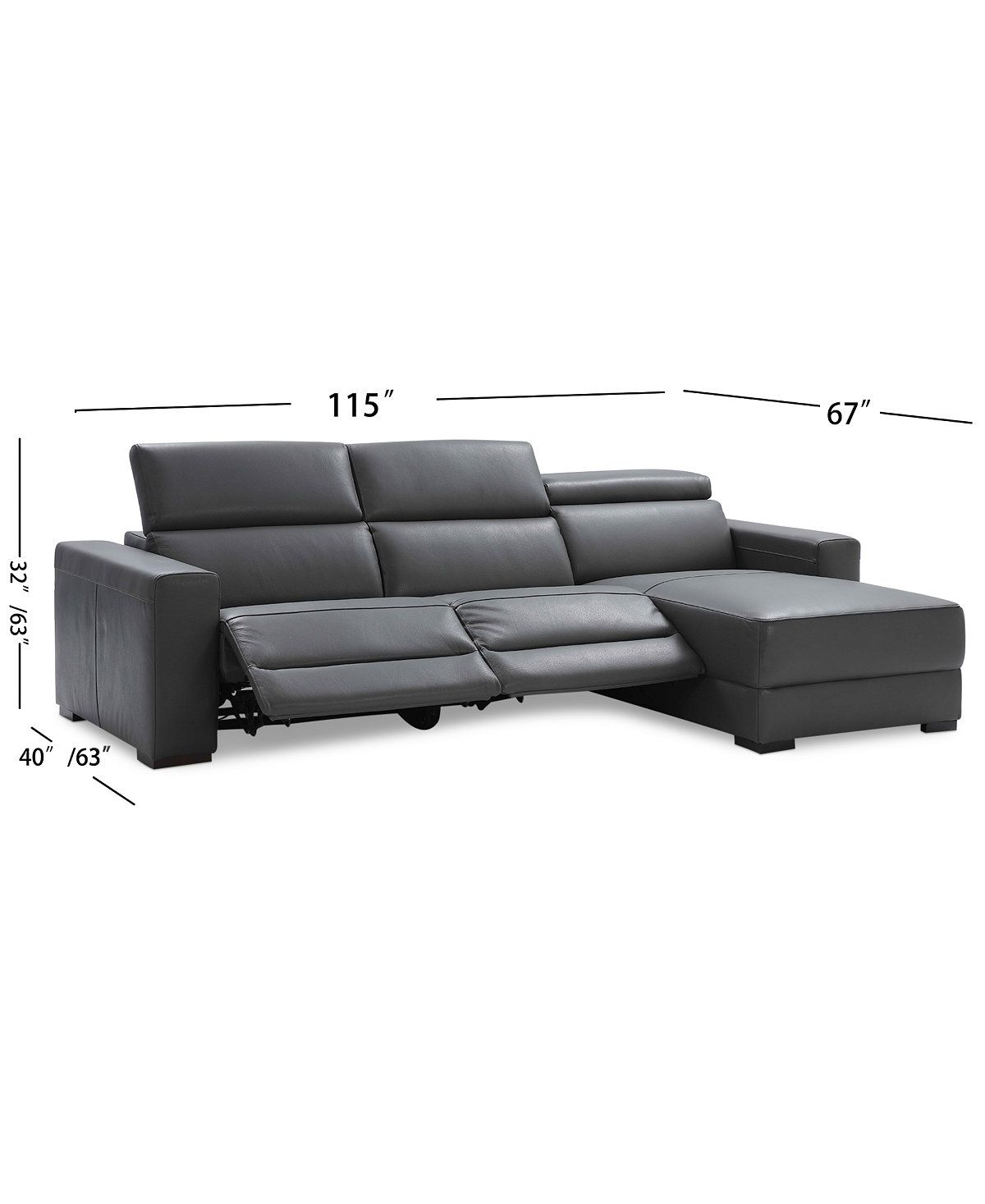 Nevio 3 Pc Leather Sectional Sofa With Chaise 2 Power Recliners And Articulating Headre Sectional Sofa With Chaise Modern Recliner Sofa Leather Sectional Sofa