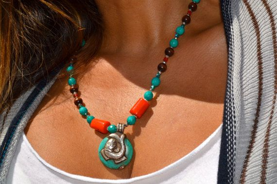 Boho Beautiful Beaded Necklace with Tibetan by uniquebeadingbyme