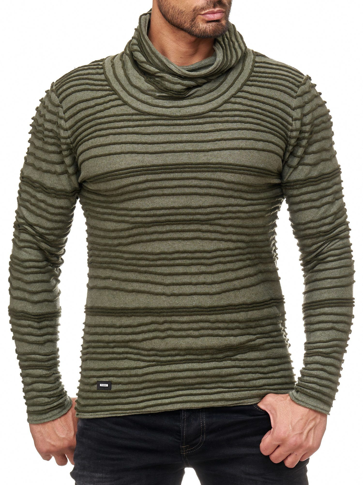 Red Bridge Herren TRBC fashion rip structure Strickpullover Pullover Sweat  Rollkragen Grün #knit #rip