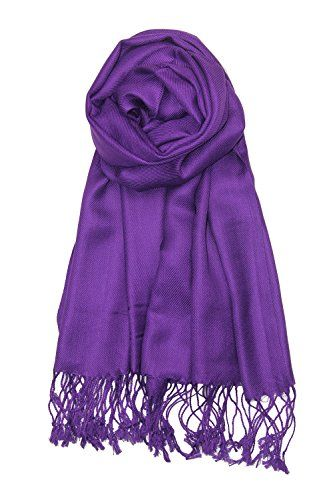 9ce6c8e5e1fc9 Achillea Large Soft Silky Pashmina Shawl Wrap Scarf in Solid Colors Purple  ** Details can be found by clicking on the image.