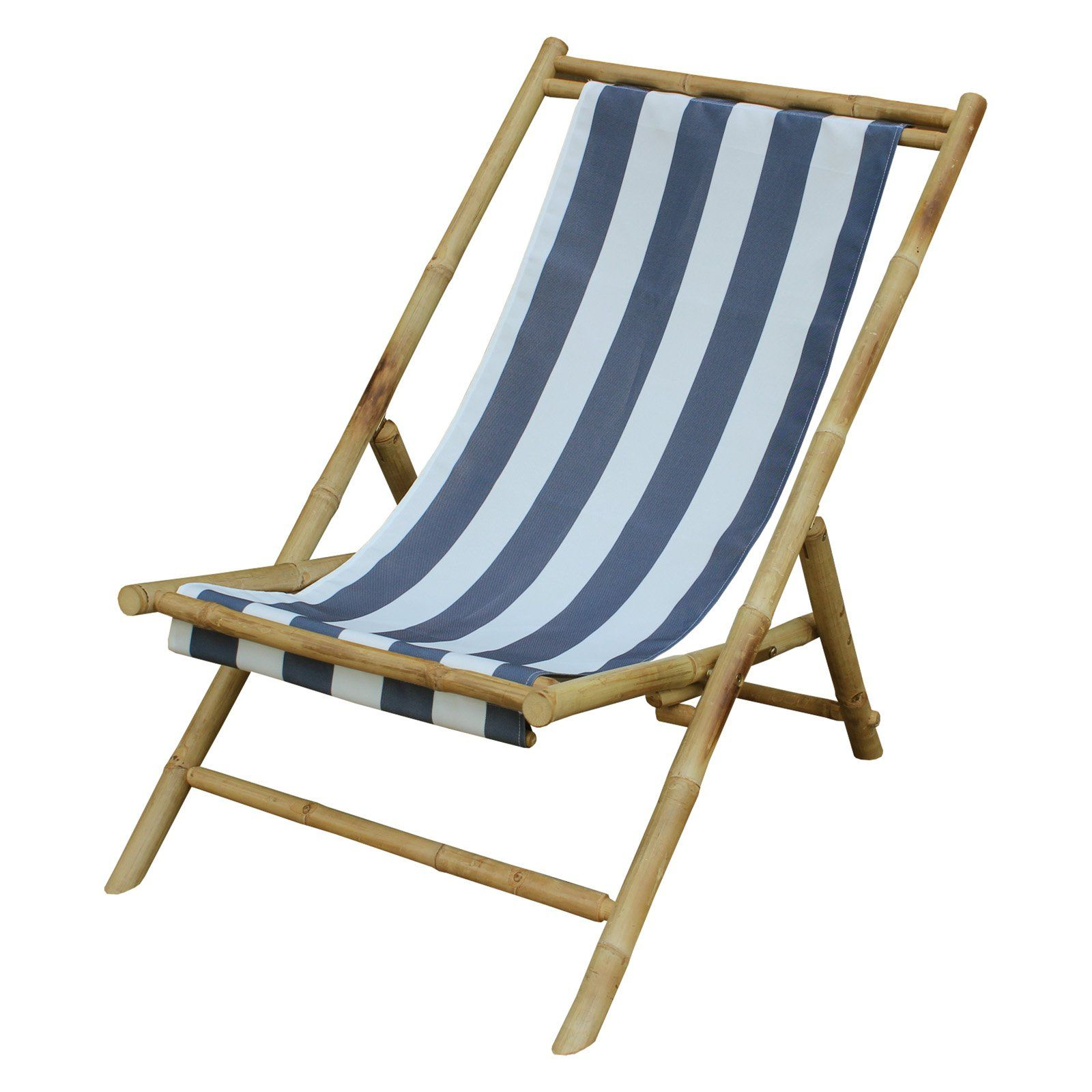 Excellent Outdoor Statra Folding Bamboo Canvas Relax Sling Chair Blue Onthecornerstone Fun Painted Chair Ideas Images Onthecornerstoneorg
