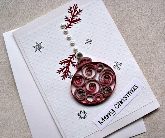 Handmade Paper Quilled Christmas Card Merry Christmas Ornament Paper Quilling Cards Paper Quilling Designs Quilling Christmas