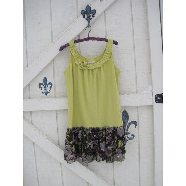 Boho Tunic Dress Suntunic Bohemian Hippie Romantic Rustic Lime Green... ($42) ❤ liked on Polyvore