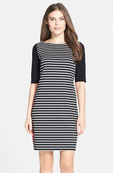 Eliza J Mixed Stripe Ponte Shift Dress (Regular & Petite) available at #Nordstrom