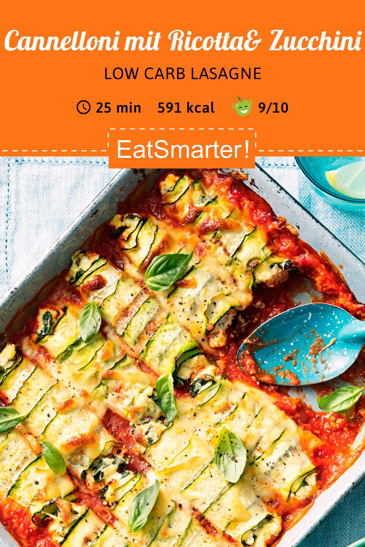 Low carb Rezept: Cannelloni mit Ricotta, Spinat und Zucchini  #menus