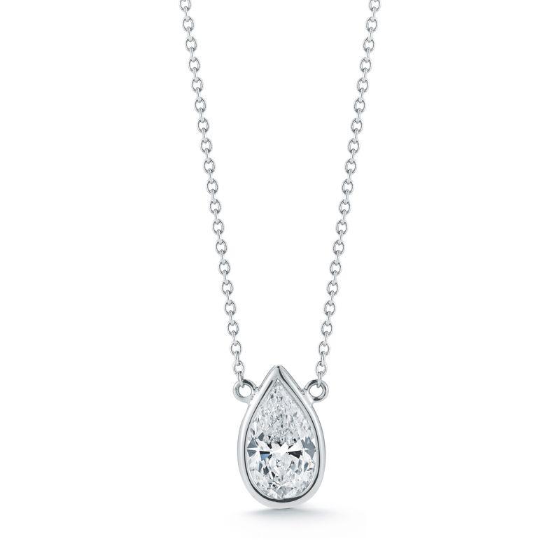 Classic bezel set pear shape diamond pendant in white gold my classic bezel set pear shape diamond pendant in white gold aloadofball Image collections
