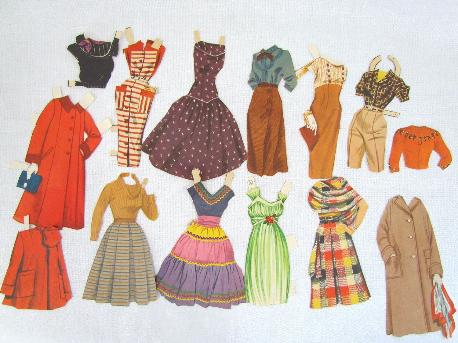 Image detail for -Paper Doll Clothing 1940's Dresses and by VintagePolkaDotcom