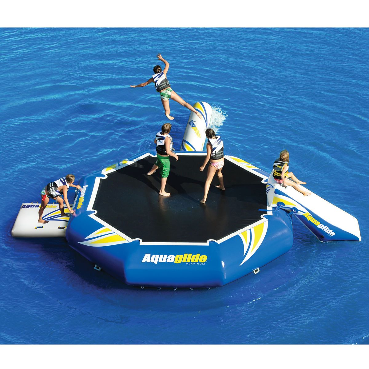 Juegos Acuaticos Piscina Aquaglide Platinum Rebound Aquapark 16 Bouncer Set