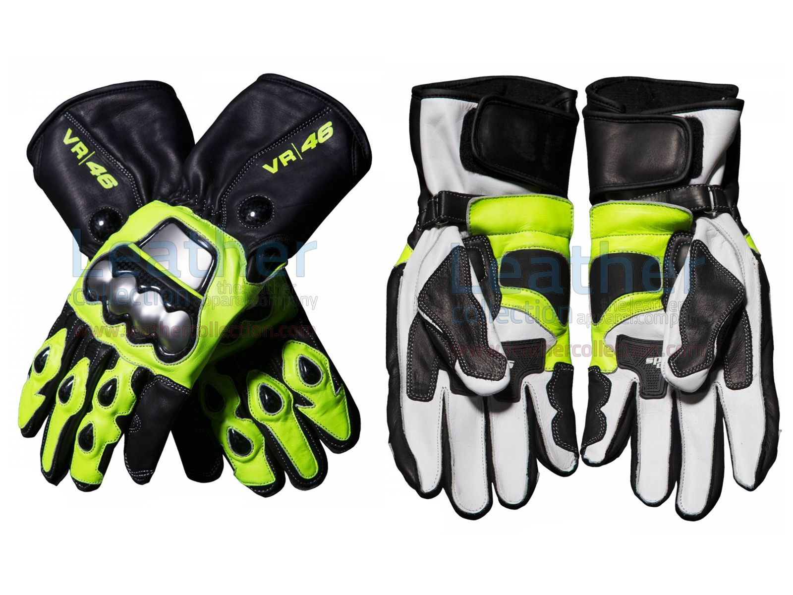 Valentino Rossi 46 Motogp VR46 Leather Motorbike Racing Leather Gloves Pair