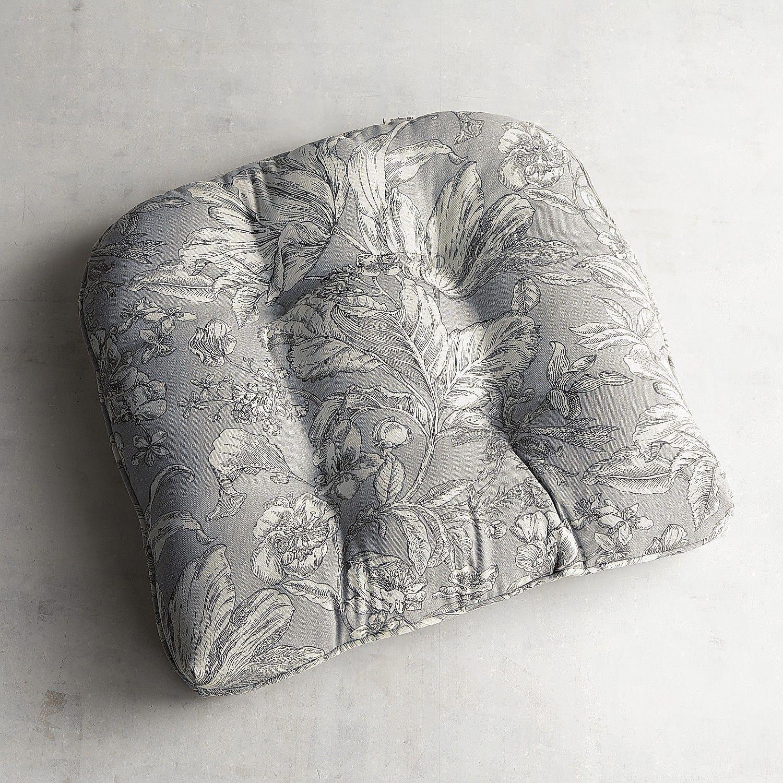 Standard Contour Chair Cushion In Tulip Toile Gray Officechaircushion