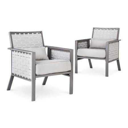Amazing Blake 2 Piece Metal Woven Strap Patio Club Chair Set Ibusinesslaw Wood Chair Design Ideas Ibusinesslaworg