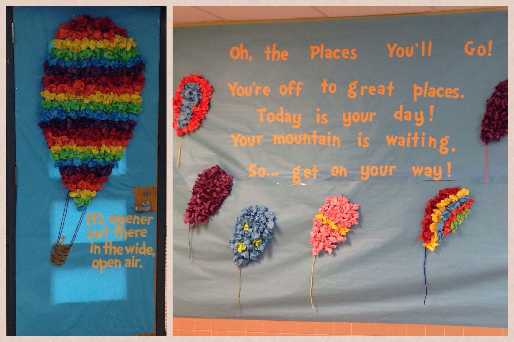 "Dr. Seuss Week door decoration ""Oh the Places You'll Go ..."