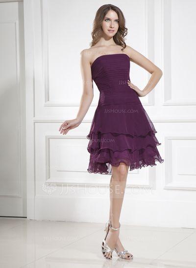 A-Line/Princess Strapless Knee-Length Chiffon Bridesmaid Dress With Cascading Ruffles (007036969)
