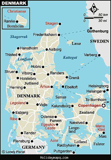 awesome Map of Denmark Tourist Holidaymapq Pinterest Denmark