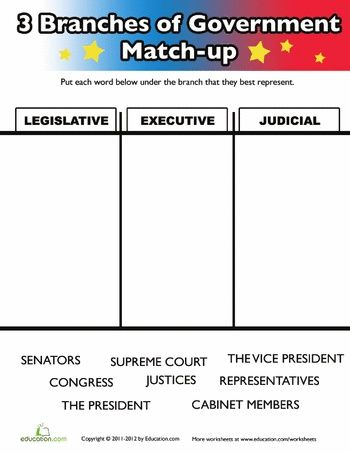 Worksheets Three Branches Of Government For Kids With Images