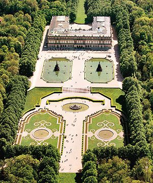 Aerial View Of Herrenchiemsee Palace And Massive Gardens On An Island In Chiemsee Also Called The Bavarian Sea Near Be Germany Castles Castle Famous Castles