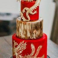 Modern Wedding Cake with Traditional Chinese Symbols