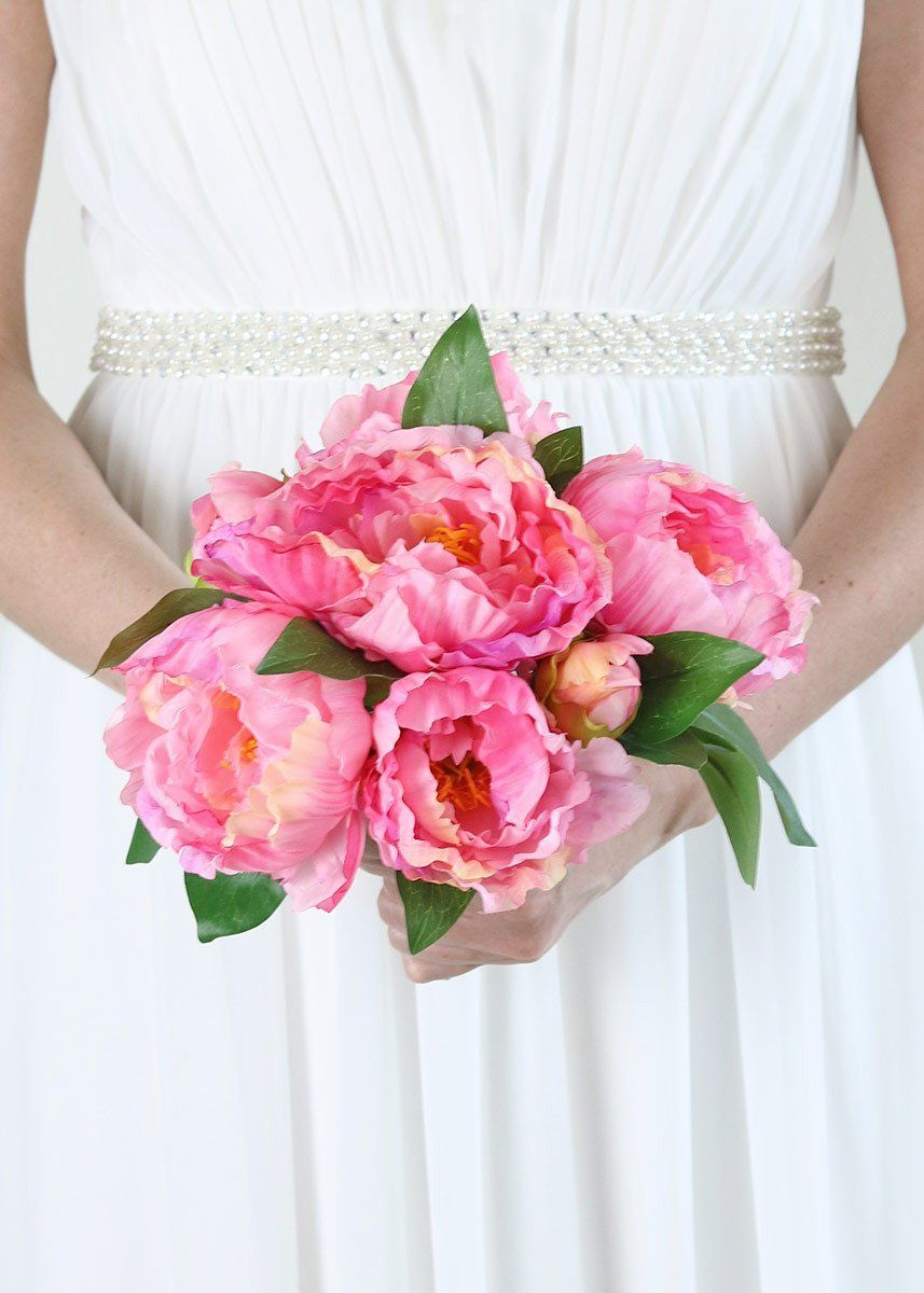 Silk Peony Bouquet in Two Tone Pink - 12 | Peonies bouquet, Peony ...
