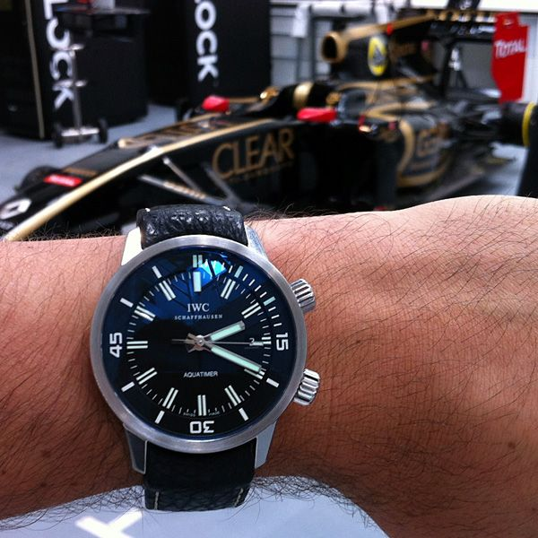 Hirsch Aero shark skin curve ended strap on an IWC. Love the F1 car in the background!