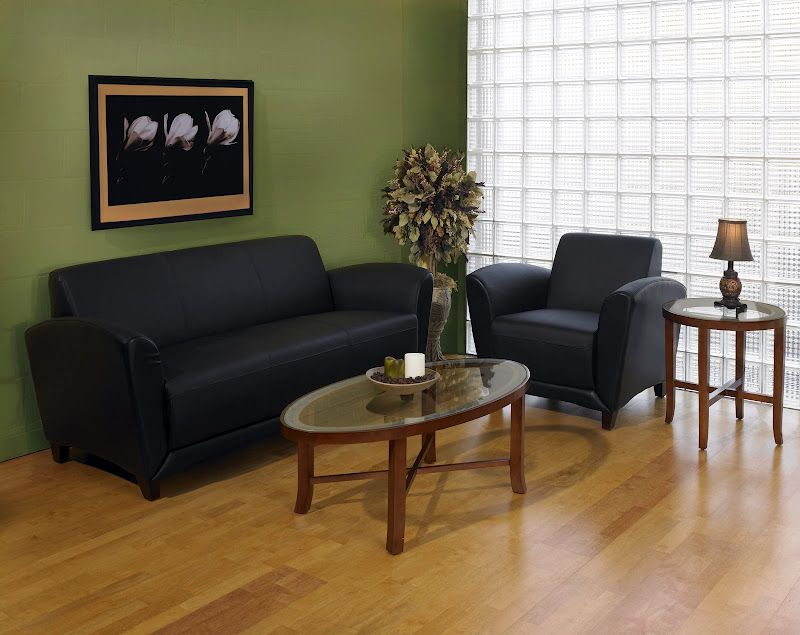 This Small Office Lounge Features A Sofa And Lounge Chair From The Mayline  Santa Cruz Collection Along With Glass Reception Tables For Accent.