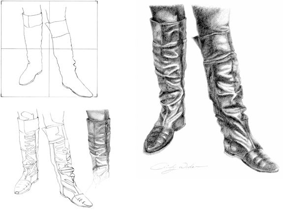 Drawspace.com , Lessons , V08 Shiny Leather Boots by Cindy