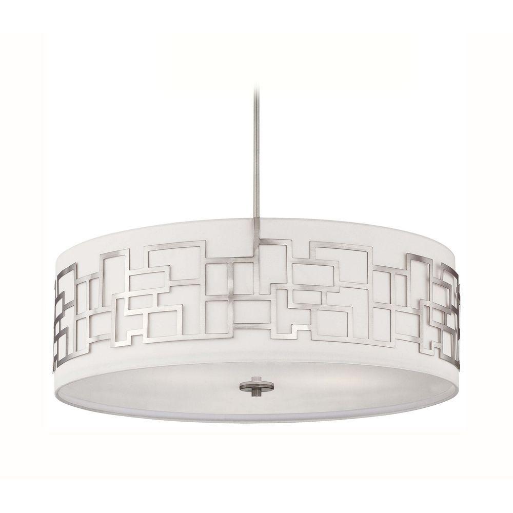 modern drum pendant lighting. George Kovacs Lighting Modern Drum Pendant Light With White Shade In Brushed Nickel Finish P197- E