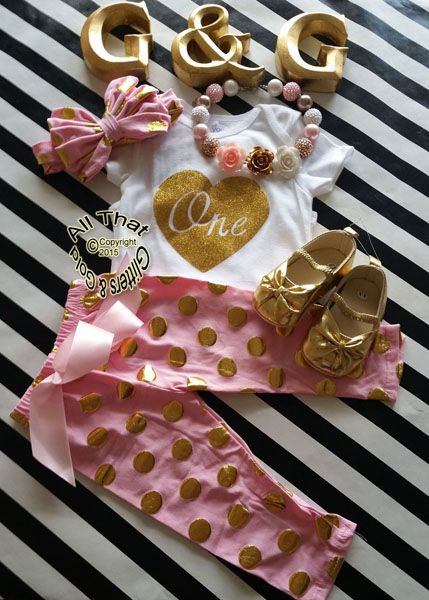 a3b9d0ef5 Pink and Gold Polka Dot One 1st Birthday Pants Outfits For Baby Girl http:/