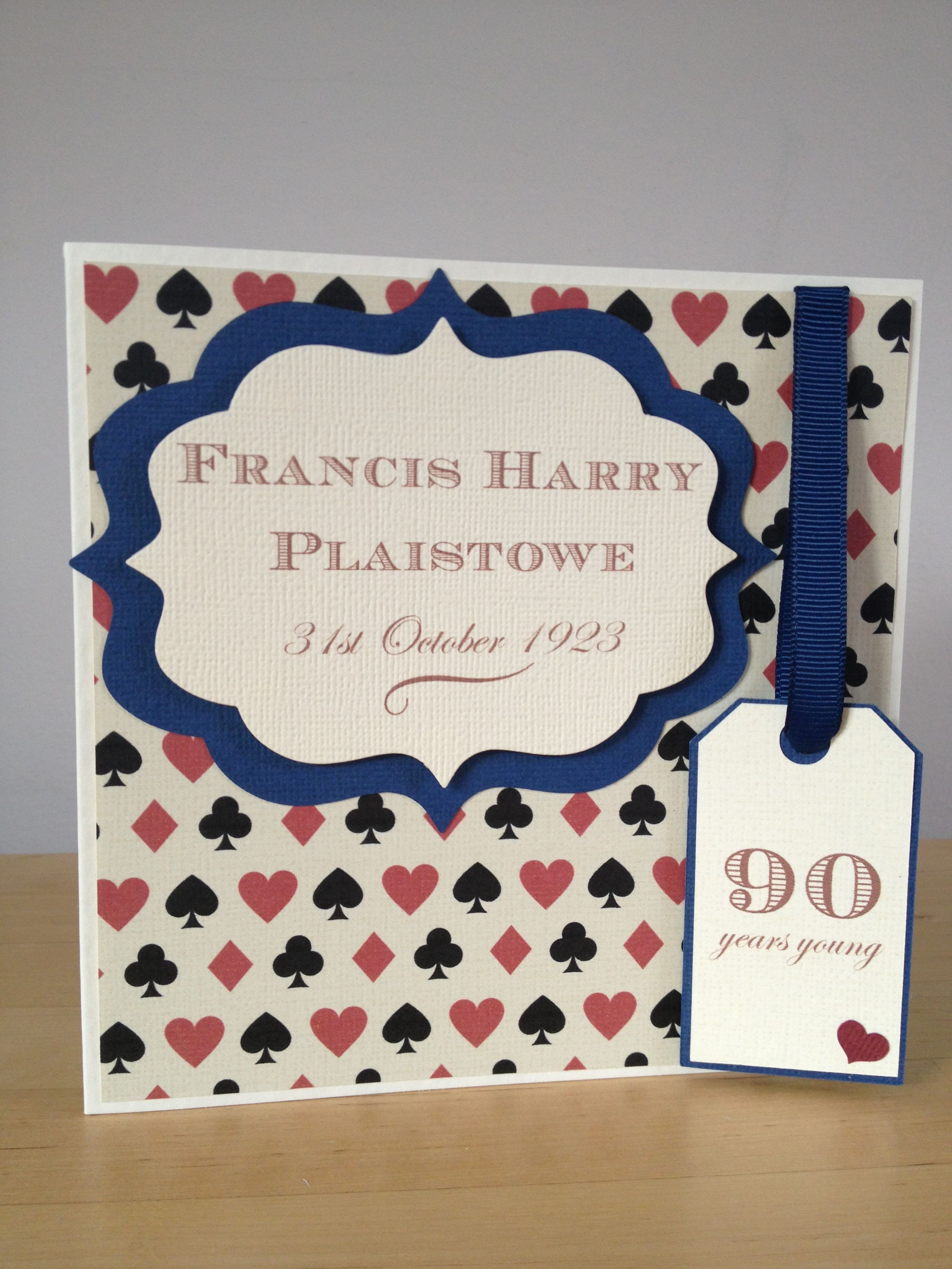 90th Birthday Card Personalised 90th Birthday Cards Birthday Cards Personal Cards