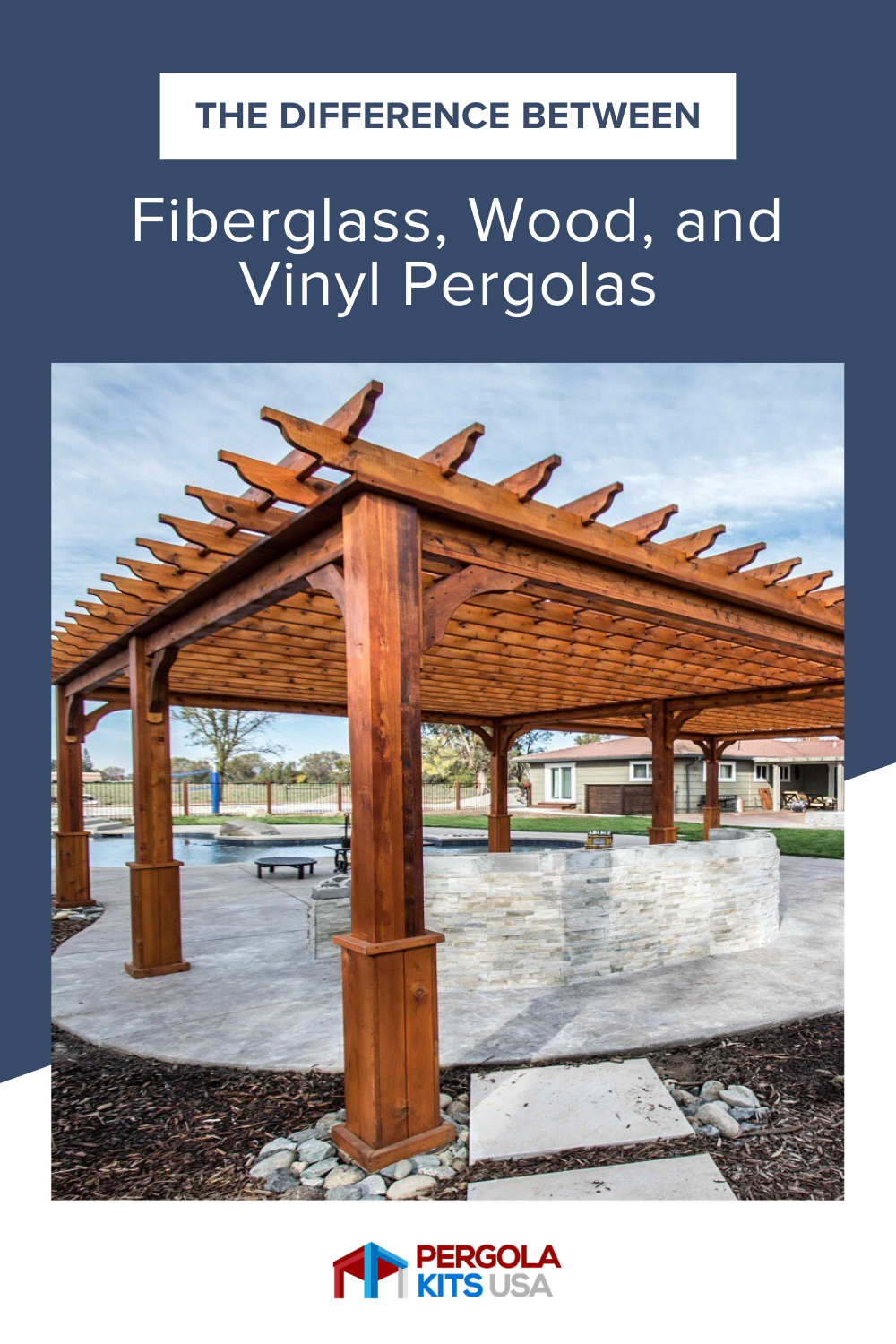 The Difference Between Fiberglass Wood And Vinyl Pergolas In 2020 Vinyl Pergola Pergola Pergola Kits