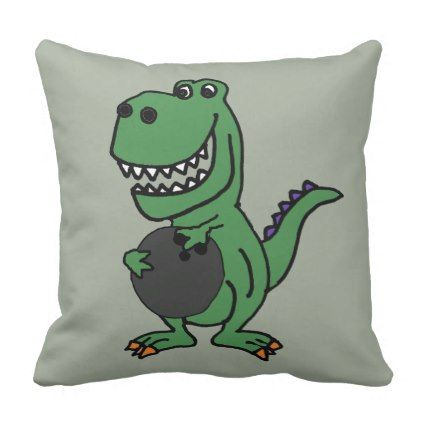 Cute Trex Dinosaur Bowling Cartoon Throw Pillow animal