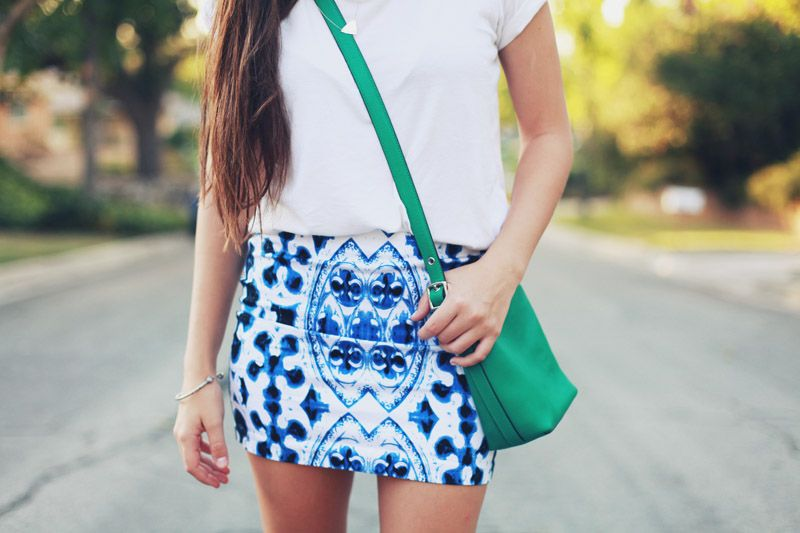 white tee & skirt combo