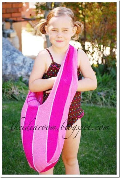 DIY Swim Bag and Matching Towel Tutorial   Sew this cute Swim Bag   theidearoom.net