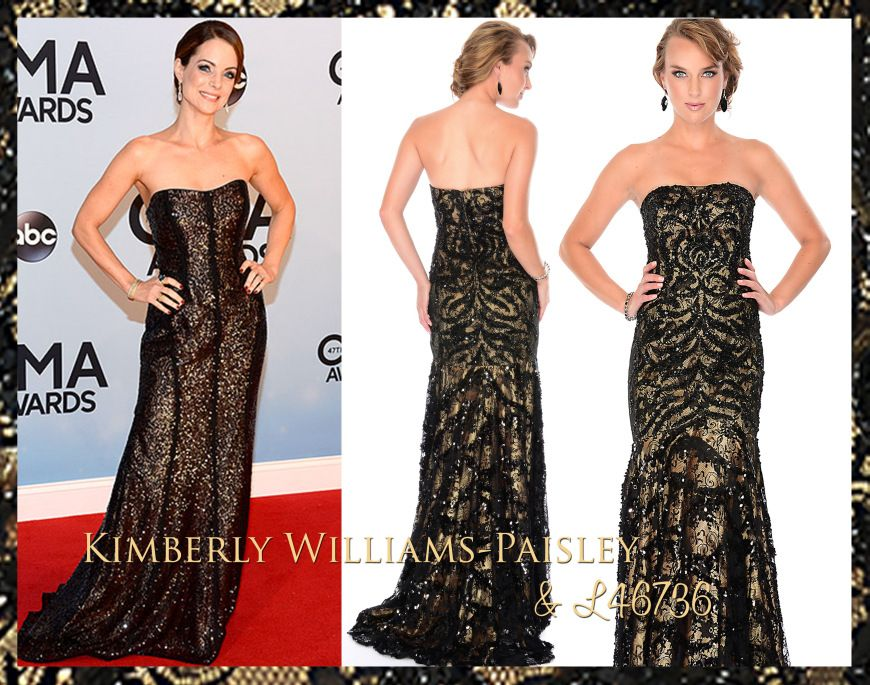 Kimberly Williams-Paisley was sophisticated and sleek in this shimmery strapless gown, straight from our Lux Gal collection (just like L4673...