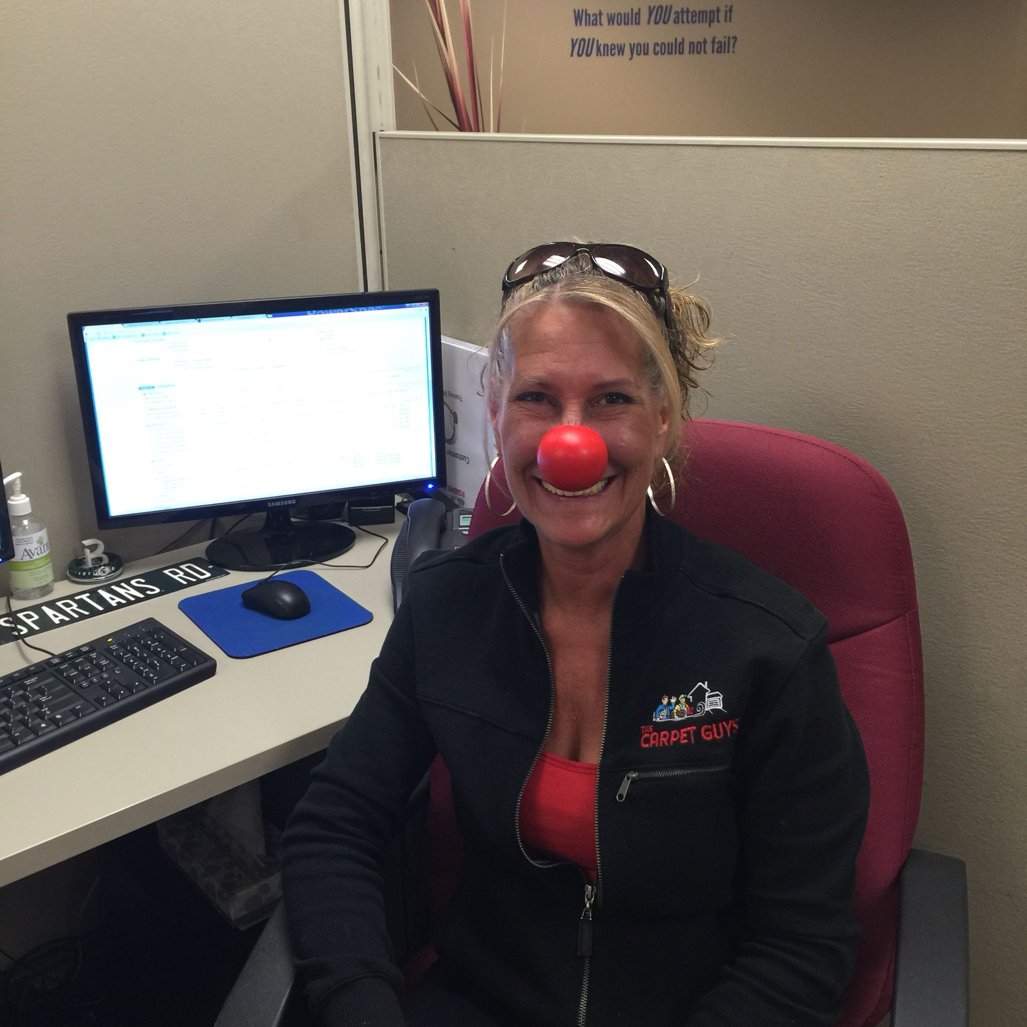 Becky Zago of The Carpet Guys having fun sharing the message #RedNoseDay #RedNoseDay2015