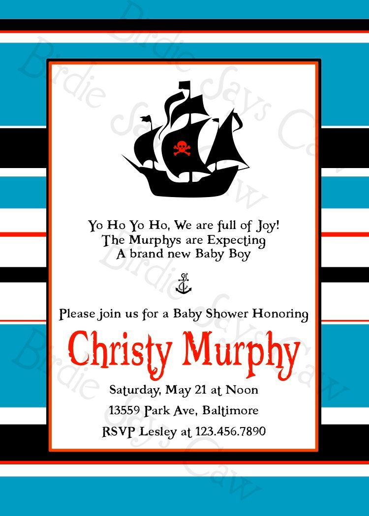 Printable Custom Preppy Pirate Baby Shower Invitation by slindb ...