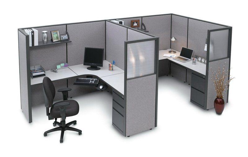Durable Double Office Cubicle Desks With Overhead Shelf Desk
