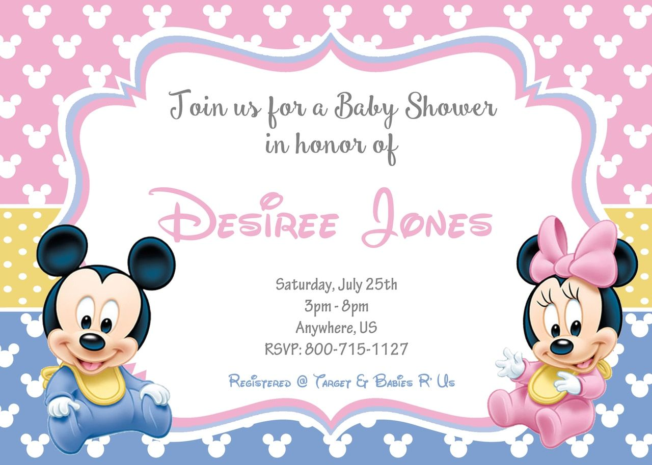 Twins Baby Minnie Baby Mickey Baby Shower Invitations