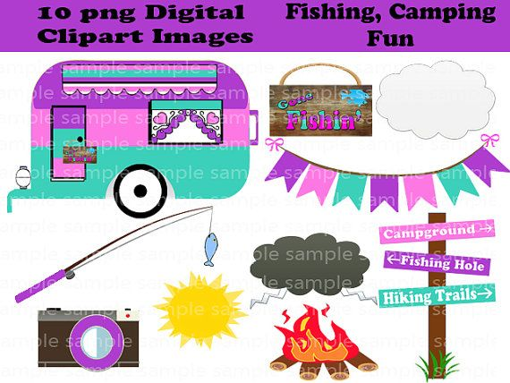 Instant Download 10 PNG Camping Fishing Fun Digital Clipart Images Scrapbooking On Etsy 150