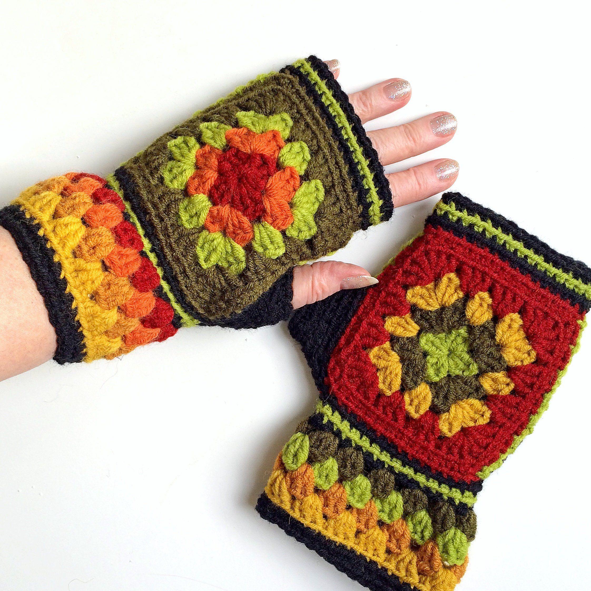 Mittens Crochet fingerless gloves Granny squares mittens | Etsy