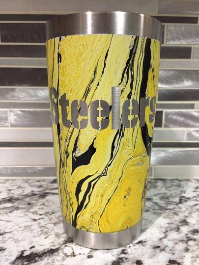 Custom Pittsburgh Steelers Swirl Ozark Cup Hydro Dipped